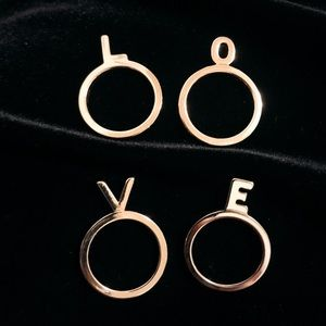 LOVE Lettering Gold Plated 4 Fashion Rings Set
